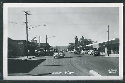 WA Quincy RPPC 1950's STREET SCENE Central Market DRUG STORE by Ellis (Quincy Market Stores)