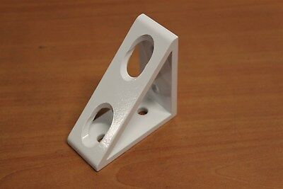 8020 Aluminum 4 Hole - Gusseted Corner Bracket 40 Series 40-4336 White C4-01