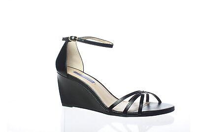 Stuart Weitzman Womens Estarla Black Caviar Patent Ankle Strap Heels Size 9