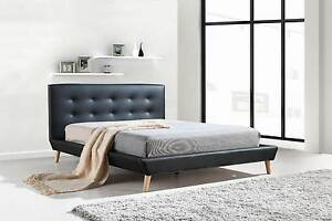 ON SALE - Queen PU Leather Deluxe Bed Frame Black Melbourne CBD Melbourne City Preview