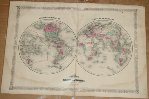 Original 1869 World Hemispheres map - Johnson