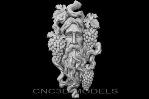 3D Model STL for CNC Router Engraver Carving Artcam Aspire Man Face Grapes g801