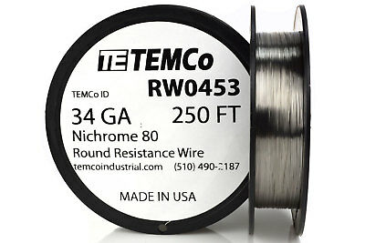 Temco Nichrome 80 Series Wire 34 Gauge 250 Ft Resistance Awg Ga