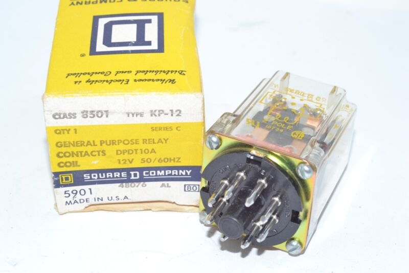NEW SQUARE D 8501 KP-12 Plug-in Relay 120V-AC DPDT10A