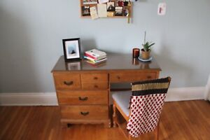 Antique wooden desk and chair