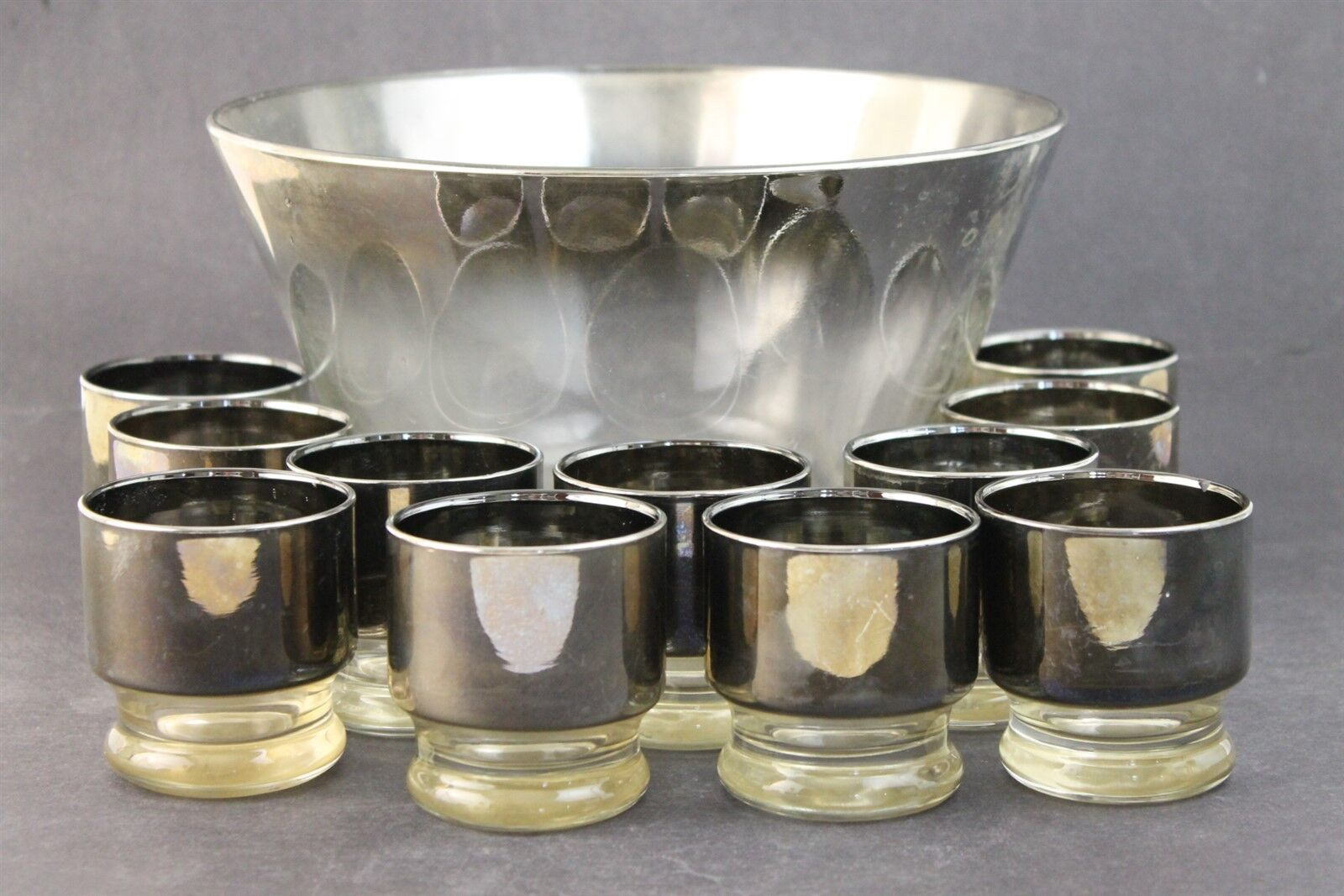 Vtg mid century queens lusterware silver fade clear glass