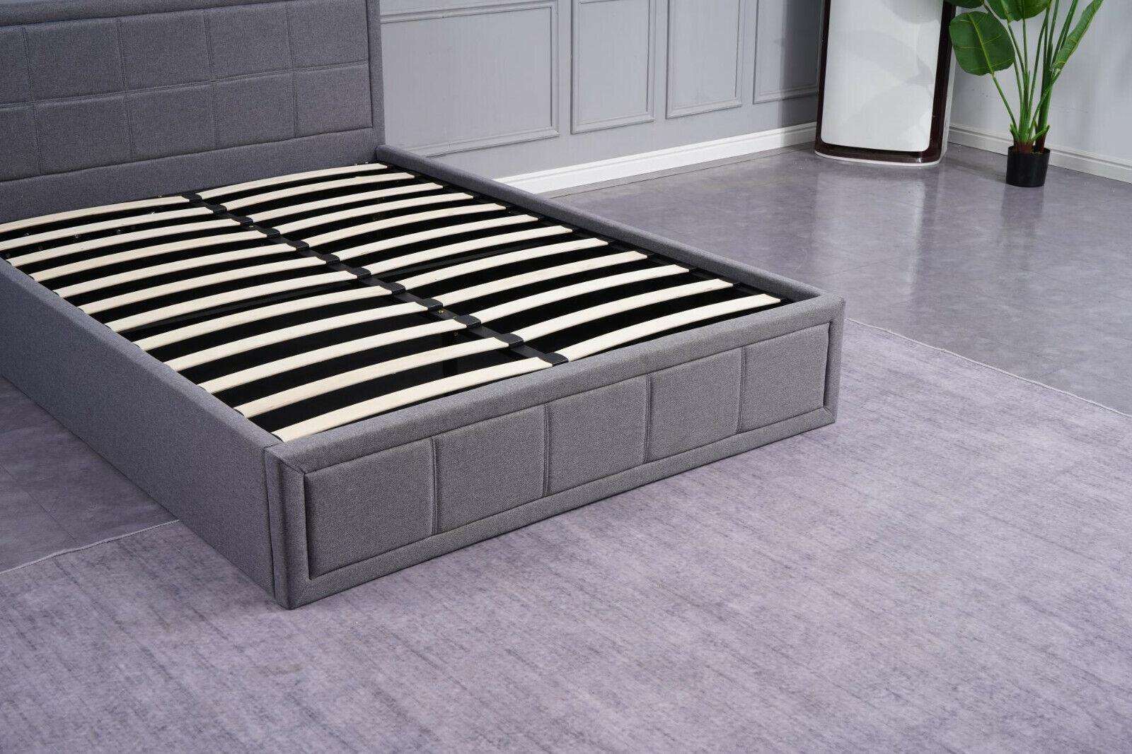 Kosy Koala Grey Upholstered Storage Ottoman Gas Side Lift Bed Natural Linen Fabric Bed 3ft Single