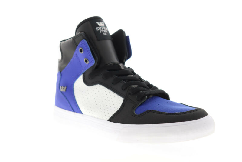 Supra Vaider 08044-475-M Mens Blue Leather Lace up Athletic Skate Shoes