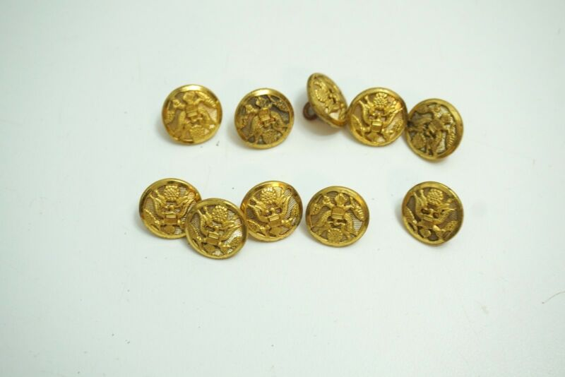 10 VINTAGE US ARMY AIRFOCE MILITARY WATERBURY BRASS BUTTONS E PLURIBUS UNUM 5/8""
