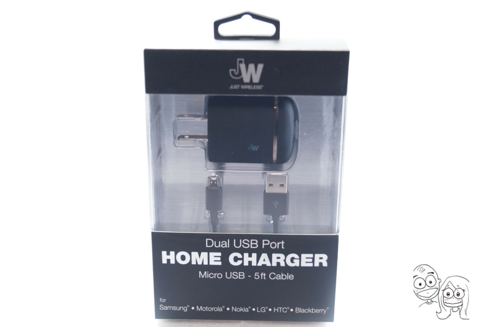 Just Wireless 3.4 Amp Dual USB port Wall Charger with Micro