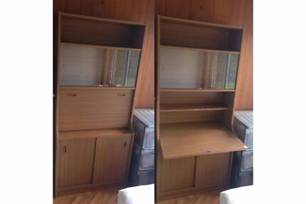 Glass Display Unit with Foldout Desk and Cabinet FREE