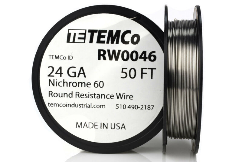 TEMCo Nichrome 60 series wire 24 Gauge 50 Ft Resistance AWG ga