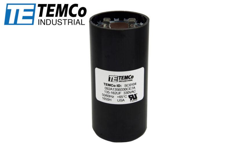 TEMCo 135-162 uf/MFD 330 VAC volts Round Start Capacitor 50/60 Hz -Lot-1