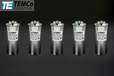 Temco 455 Mfd Uf Dual Run Capacitor 370 440 Vac Volts 5 Lot Ac Motor Hvac 455
