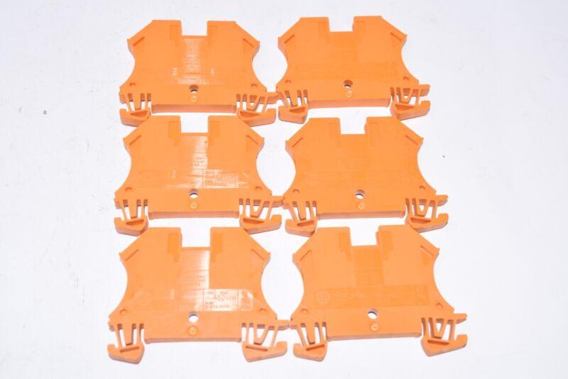 Lot of 6 NEW Allen Bradley 1492-J4 Terminal Blocks - Orange