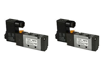 2x 110v Ac Solenoid Air Pneumatic Control Valve 5 Port 4 Way 2 Position 14 Npt