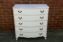 Vintage | Distressed | Shabby Chic white chest of drawers St Kilda Port Phillip Preview