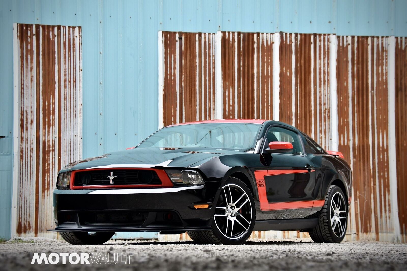 2012 Ford Mustang Boss 302 Laguna Seca - Black w/ Red Stripes and Roof