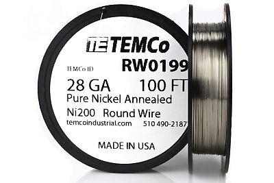 Temco Pure Nickel Wire 28 Gauge 100 Ft Non Resistance Awg Ni200 Nickel 200ga
