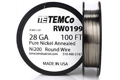 Temco Pure Nickel Wire 28 Gauge 100 Ft Non Resistance Awg Ni200 Nickel 200ga