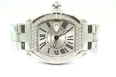 Ladies CARTIER ROADSTER Stainless Steel Custom Diamond Watch Ref W62016V3