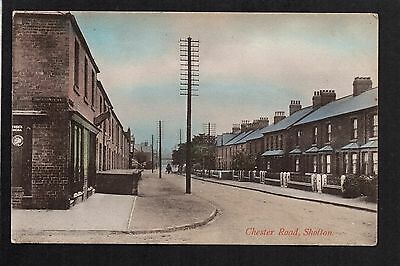 Shotton - Chester Road - colour printed postcard