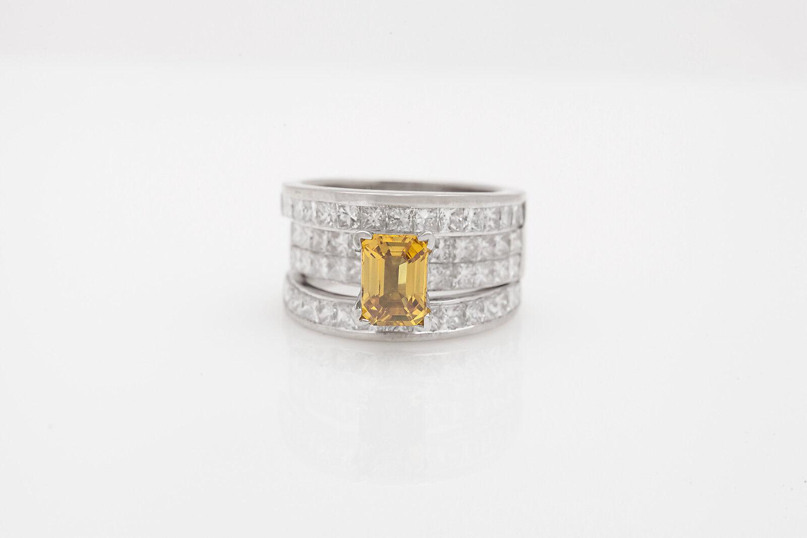 Designer $15 000 8ct Natural Yellow Sapphire VS G Diamond 18k Gold Band Ring