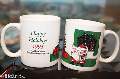 Coffee Mug Lot 2 1995 Christmas Cups Atlanta Journal Atlanta Constitution  B2