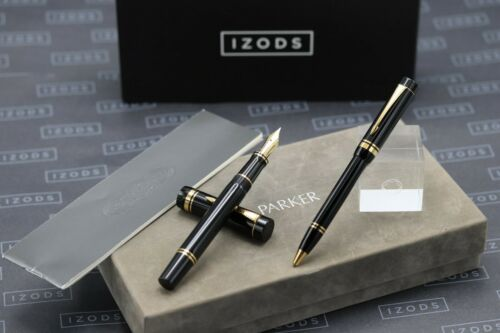 Parker Duofold Centennial Black / Gold Fountain Pen and Ballpoint Set - 1988 MK1