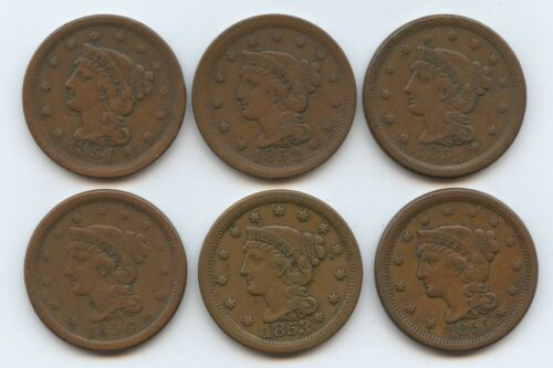 1851-1856. VF-XF. Some Light Rim tick Braided Hair Large Cents six pcs. (#9774)