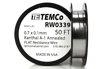 Temco Flat Ribbon Kanthal A1 Wire 0.7mm X 0.1mm 50 Ft Resistance A-1