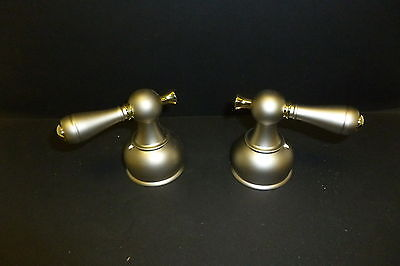 DELTA FAUCET  H615 NP TRADITIONAL NICKLE AND BRASS LEVER HANDLES NEW ()