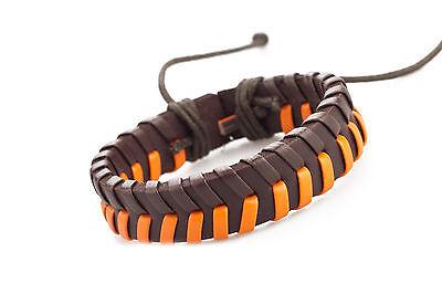 (Genuine & PU Leather Handmade Bracelet Men's Unisex Wrap Tribal 254)