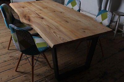 Large Solid Oak dining table Live Edge Rustic Industrial -John Lewis metal Legs