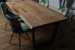 Solid Wood Oak Ash Dining Table Live Edge Rustic Metal Legs Made On Request
