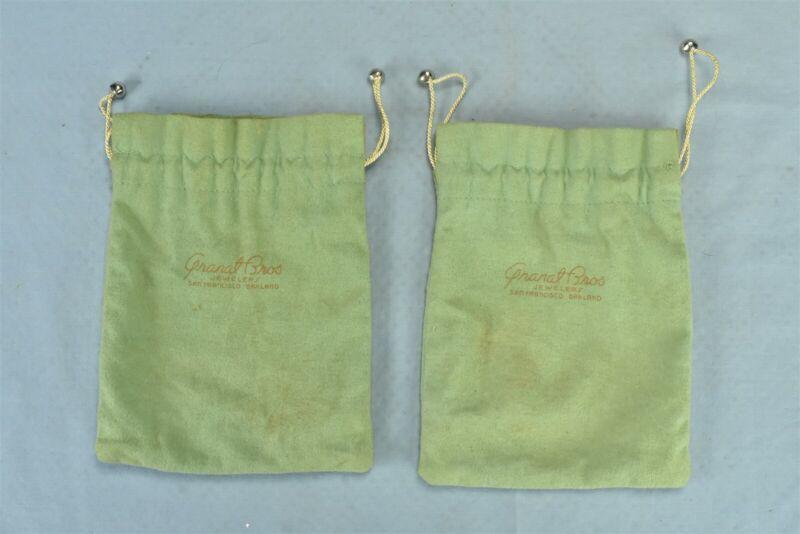 Vintage LOT 2 ANTI TARNISH DRAWSTRING BAG POUCHES GRANAT SAN FRANCISCO CA #00387