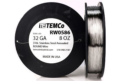 Temco Stainless Steel Wire Ss 316l - 32 Gauge 8 Oz Non-resistance Awg Ga