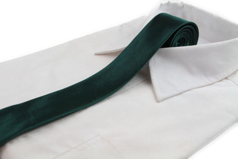 Mens Bottle Green 5cm Skinny Plain Neck Tie