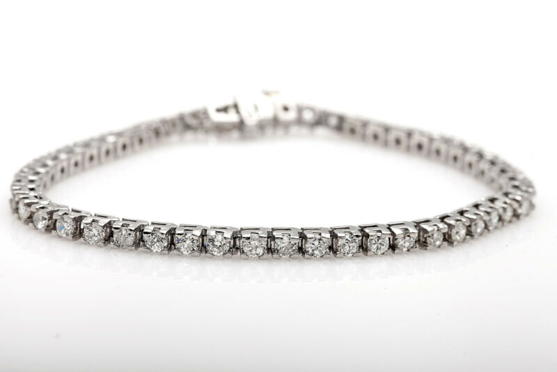 "Vintage $15,000 7ct Vs H Diamond Platinum Tennis Bracelet 29g 8.1"" Long Rare"