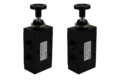 2x Hand Push Pull Pneumatic Air Control Valve 3 Port 3 Way 2 Position 12 Npt