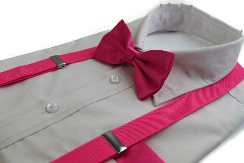 Mens Hot Pink 100cm Suspenders & Matching Bow Tie & Pocket Square Set