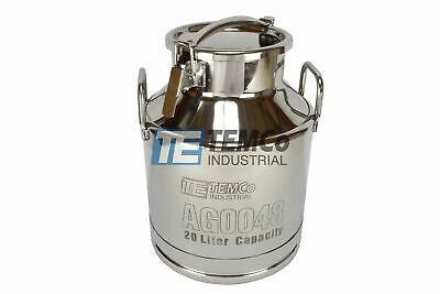 Temco 20 Liter 5.25 Gallon Stainless Steel Milk Can Wine Pail Bucket Tote Jug