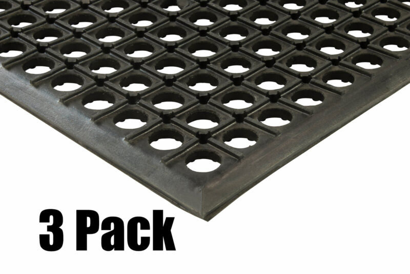 "(3) Erie Tools 2x3 Rubber Drainage Floor Mat 24"" x 36"" Anti-Fatigue Anti-slip"