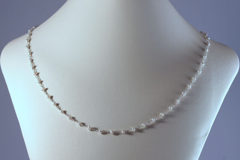 Greenwood Designs Natural White Pearl Sterling Silver Chain Beaded Necklace 18""