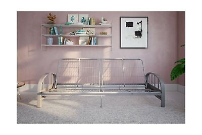 DHP Aiden Metal Futon Frame Full Size - Silver Modern Design Converts Easily Bed