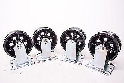5 X 2 V-grooved Steel Wheel Caster Set Of 4 900 Lbs Capacityea