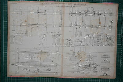 1855 LARGE LOCOMOTIVE PRINT ~ SWITCHES & CROSSINGS CHARLES HEARD WILD PARSONS