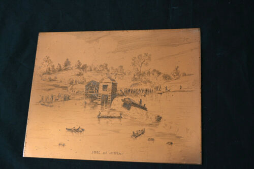 Antique Hand Engraved Copper Printing Plate Riverboat Canoe 19th C Picture River