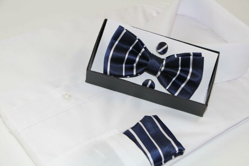 Mens Navy Textured Stripe Matching Bow Tie, Pocket Square & Cuff Links Set