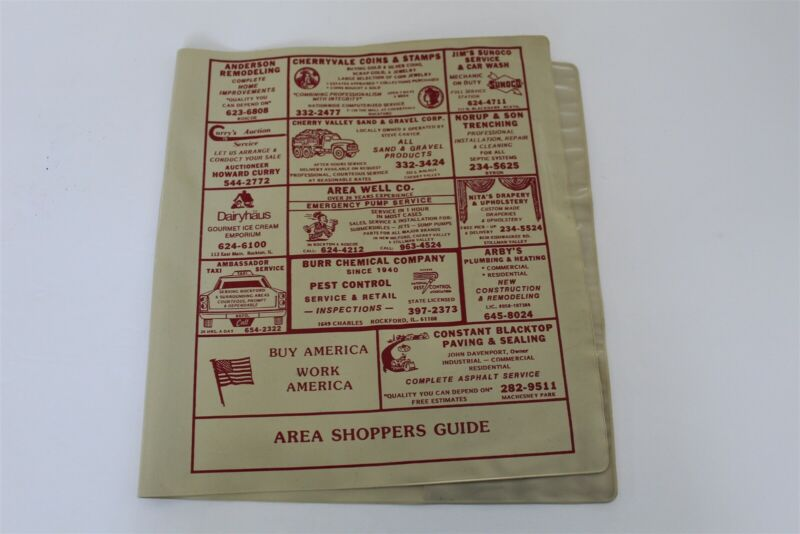 Rockford Illinois Plastic Telephone Book Jacket Advertising Ads Shoppers Guide